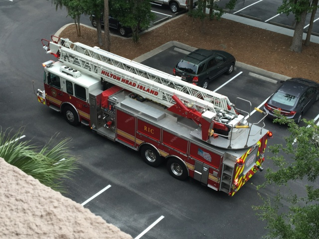 """Engine 1, a """"Quint"""" from the fire station around the corner. after they  allowed us back in."""